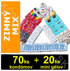 Mix na zimný sex 70 kondómov + 20 mini gélov
